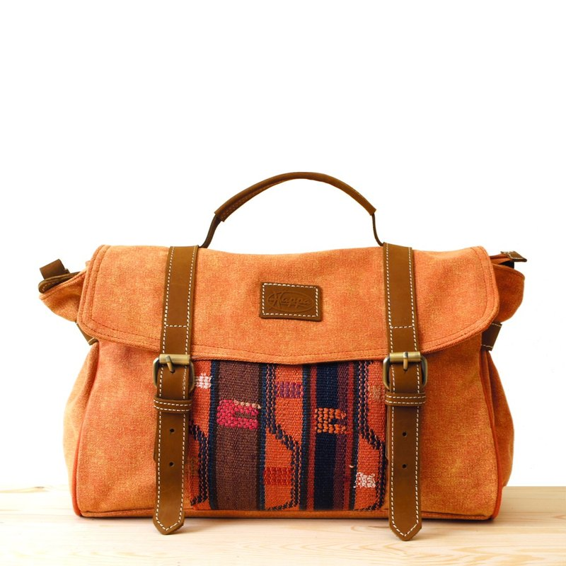 [Happa] Portable / hatchback dual-use messenger bags - hand-knotted kilim paragraph (Rust rust orange)