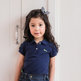 Princess sleeve cotton mesh Polo shirt dark blue classic