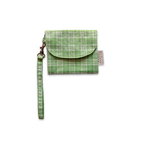 【Short wallet purse】 grass green Check