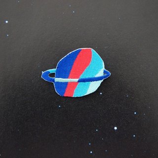 Blue and Red Planet Embroidery Pin / Patch