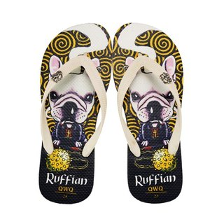 QWQ Creative Design Flip-Flops - Ruffian Dog - Black [BST03415]