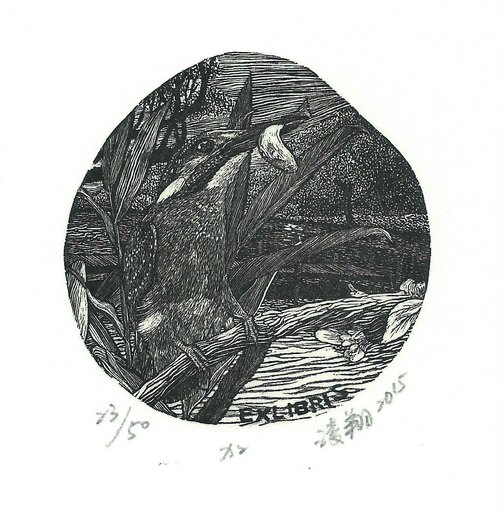 Prints bookplate - Kingfisher - Zhang Lingxiang