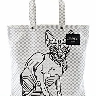 [URFACE] Rukkit Artist Series / Sphynx hairless cat line splice Shopping Bag