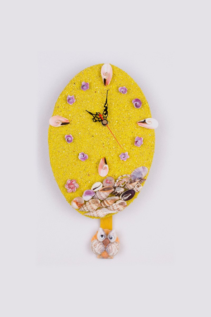 Hand made shell clock - yellow / owl swing