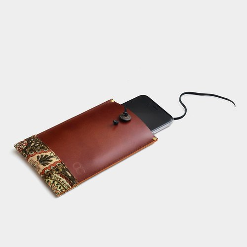 [National totem meaning] leather mobile phone bag brown leather can put the phone, IPHONE6,6s, 7 car lettering when the gift