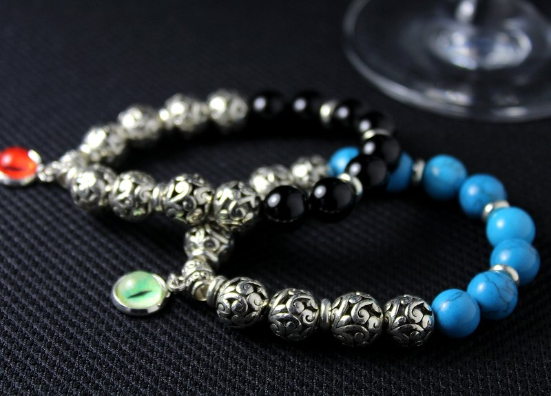 [Cat an Eye] the EYE 10mm*natural stone*Tibetan silver beaded bracelet neutral - Taiji paragraph