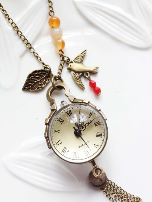 imykaka] ♥ bird ball crystal pocket watch necklace