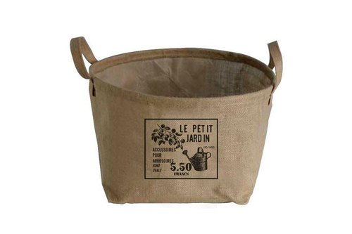 "Fill in the Blank ""natural hemp fabric furniture series - Village mention skill long linen storage basket M - LE PETIT JARDIN (French: small garden)"