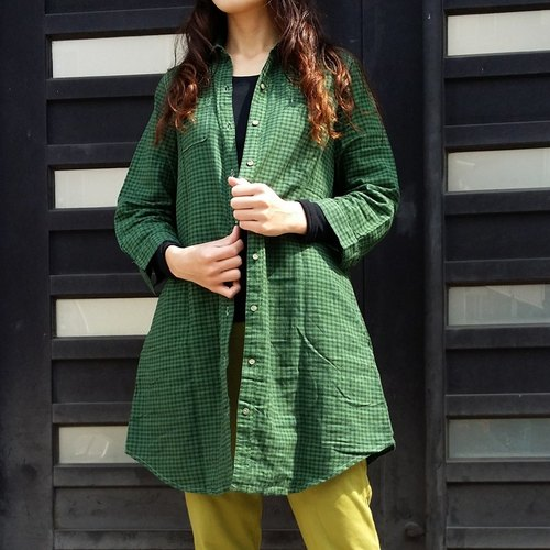 Calf Calf Village Village long-sleeved cotton shirt double pocket Dress {cover} dark green repair engage Wenge