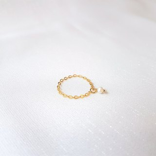 Dangle pearl chain ring