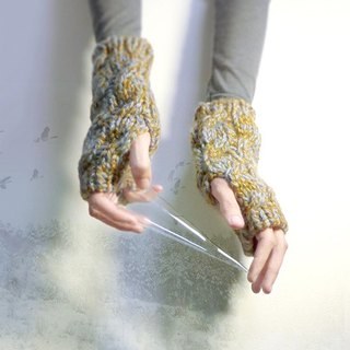 ✡ antique cable knit half finger gloves - Treetops ✡ handmade knit short-Autumn mixed forest green ash