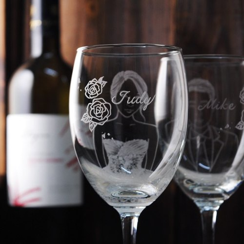 (One pair price) 350cc [MSA] hand-painted portrait of the cup (Realistic Version) Rose Hall, the bride and groom portrait engraving glass of red wine gift set of wine glasses to commemorate Valentine's Day wedding gift custom engraving
