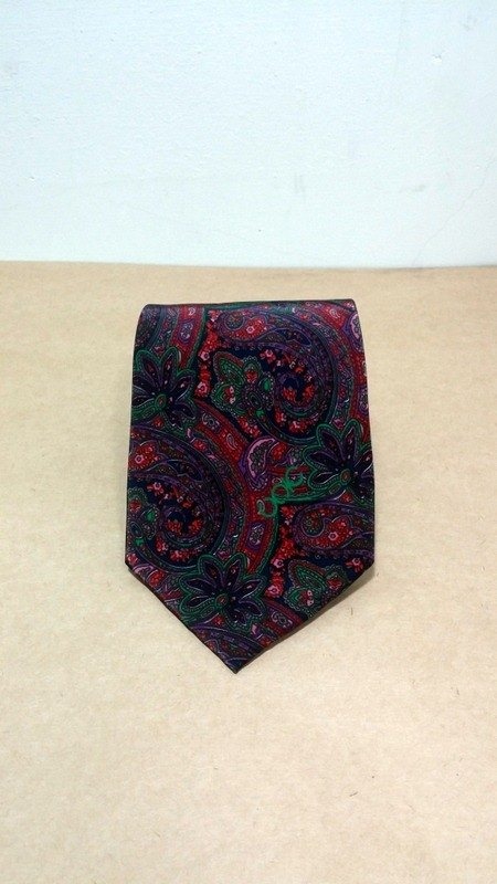 Classic retro vintage green color purple amoeba tie