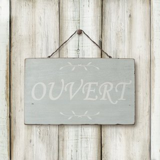 Southern France style wood retro ornaments -OUVERT-OPEN & amp; CLOSED- white