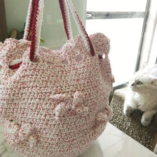 Knitting casual handbag accompanying white red dots *