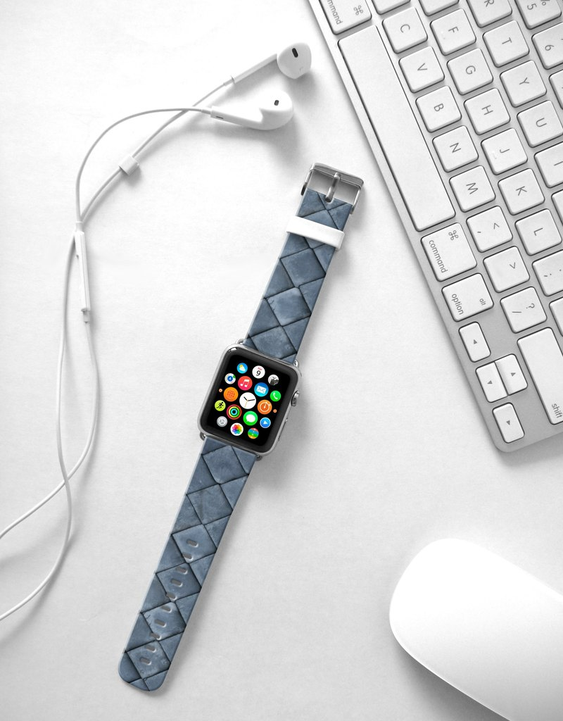 Apple Watch Series 1 , Series 2, Series 3 - Apple Watch 真皮手錶帶,適用於Apple Watch 及 Apple Watch Sport - Freshion 香港原創設計師品牌 - 炭灰仿皮圖案 25