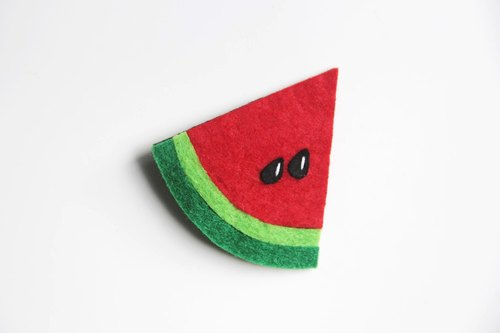 Flower Wood [original manual] summer watermelon slice it hairpin candy colored non-woven brooch small section