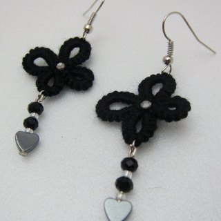 Lace knitting. Earrings (spot)