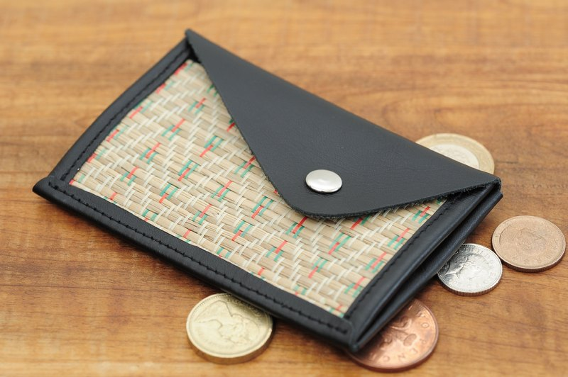 Business card holder / ticket holder - 蔺 straw black leather