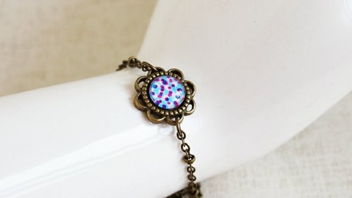 OldNew Lady- flowers image fine bracelet - colorful little money [light blue]