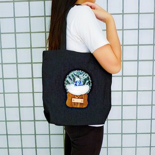 (Dark Blue Mount Fuji) Wishing Crystal Ball Black Denim Tote Shoulder Bag - Free Print English Numbers