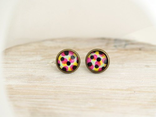 ♥ ♥ OldNew Lady- made small gifts small circular earrings - colorful color green background color dot dot []