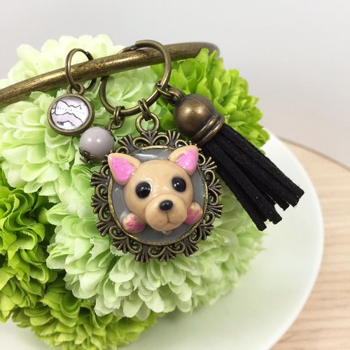 Baby stay Law Department ● natural black dog fighting large key ring handmade ● ● Limited Made in Taiwan