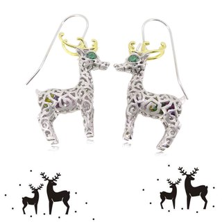 HK054 ~ 925 silver Christmas deer modeling earrings