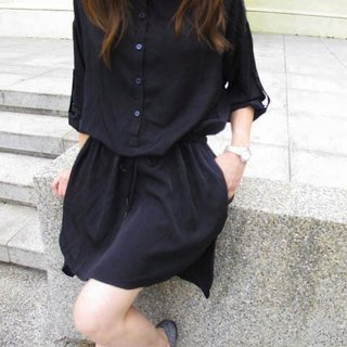 Lucky Dress Shirt Dress / Night Black