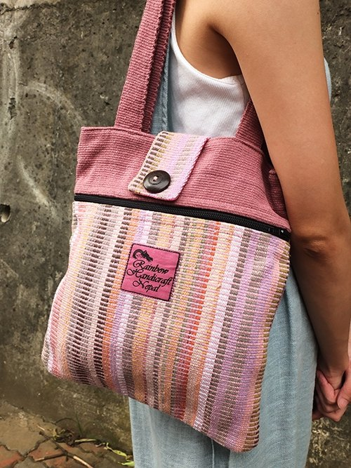 【Grooving the beats】Handmade Hand Woven Tote Bag / Shoulder Bag(Pink)