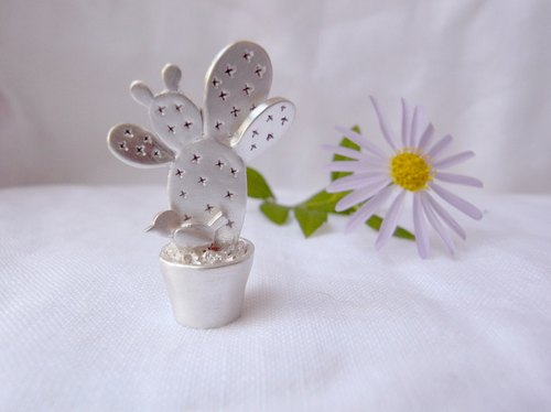 Stroll--Potted Cactus--Silver Cactus--Pendant Necklace with Wax Rope