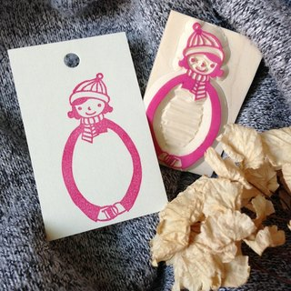 Hand-made rubber stamp - give you a hug Winter Limited Edition (striped girl)