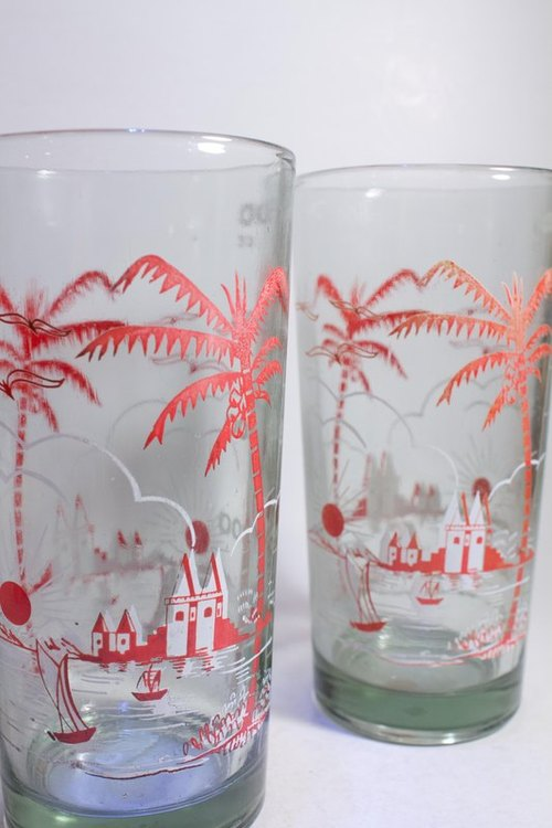 2 Vintage Glasses with Coconut Tree Pattern 2 Summer Coconut Tree Style 500 CC Old Juice Glass