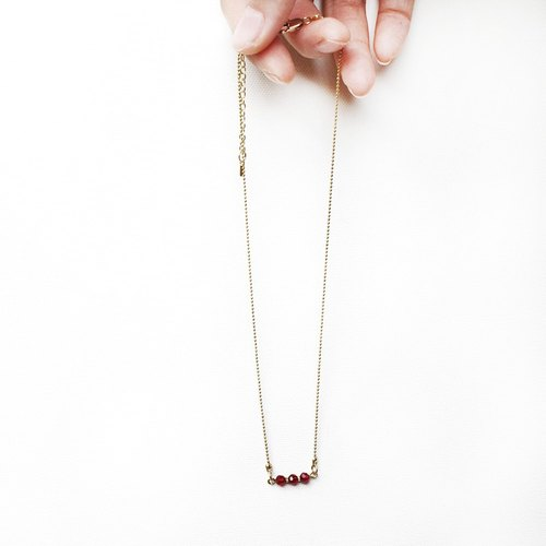 half's half- hickey - Crystal / Brass / necklace / necklace / short-chain / red