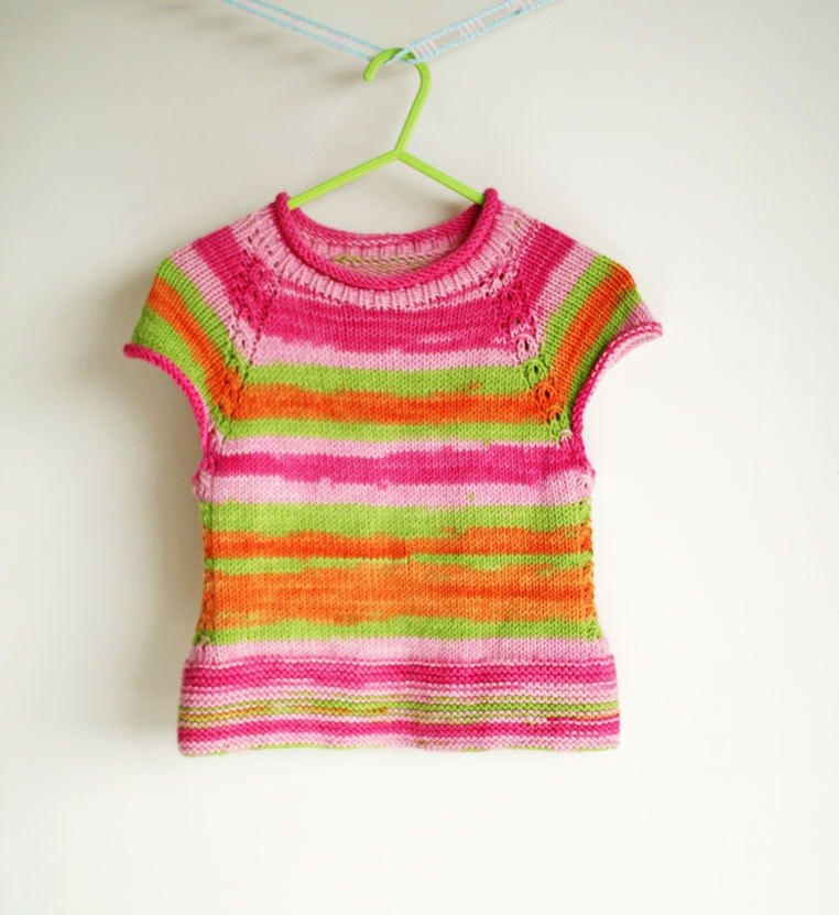 Watercolor Style  Merino Wool Hand Knitted Vest for Children