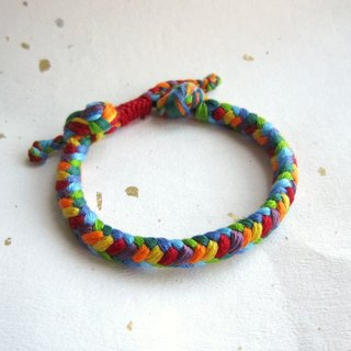 Rainbow square wide version lucky rope woven bracelet (optional color)