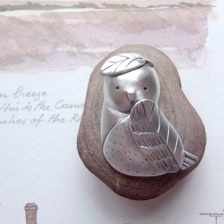 Snowy Owl--Silver Bird--Silver Owl--Pendant Necklace with Wax Rope