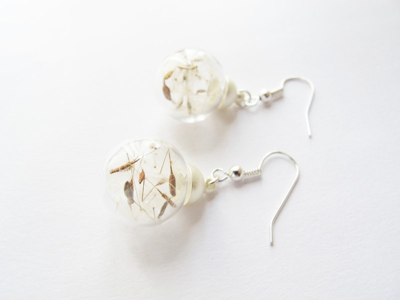 *Rosy Garden*Dandelion glass ball earrings