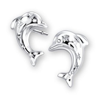 Hong Kong Design 14K / 585 white gold net gold dolphin earrings