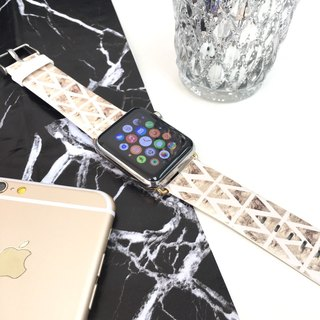 Apple Watch Series 1 , Series 2 & Series 3 - Triangle Pink and Gold Printed on Genuine Leather for Apple Watch Strap Band 38 / 42 mm - 76
