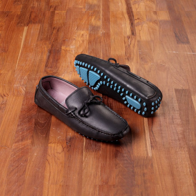 Vanger elegant beauty ‧ light travel life blue beans beans Loafers Va133 leather black