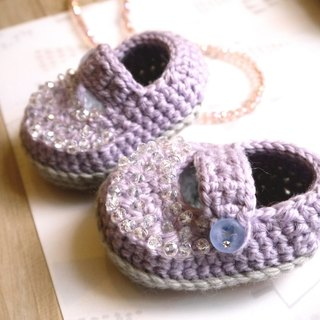Handmade knit baby shoes - shiny Princess (pink and purple)