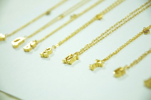 MY Initial Series~18K Gold Plated Brass Baroque Alphabet Initial Necklace