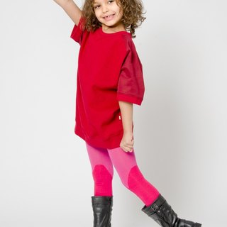 [Nordic children's clothing] Swedish organic cotton French pantyhose pink / red
