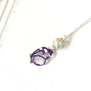 * Haku‧Neko * Purple pattern transparent hand painted butterfly necklace