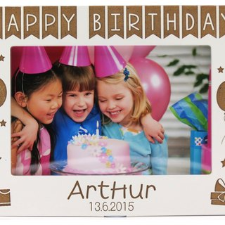 Customized carved wooden photo frame (4R photo) - Happy Birthday personalized theme x