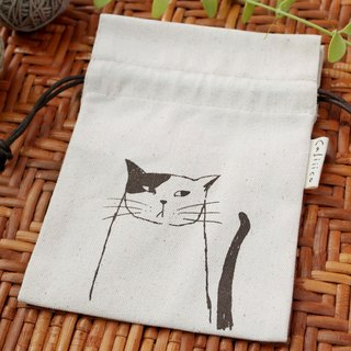 SMALL BAG HAND PRINT WITH BLACK & WHITE CAT.