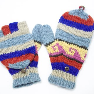Valentine's Day gift limit a knitted pure wool warm gloves / 2ways Gloves / Toe gloves / bristles gloves / knitted gloves - Blue ethnic totem