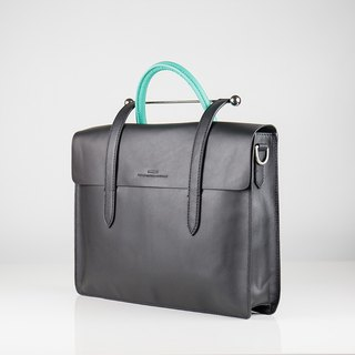 Musician clef leather bag - blue, green and black x