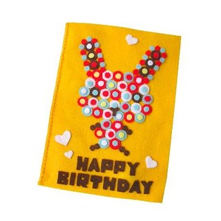 Handmade non-woven card _ rabbit rabbit circle birthday card A